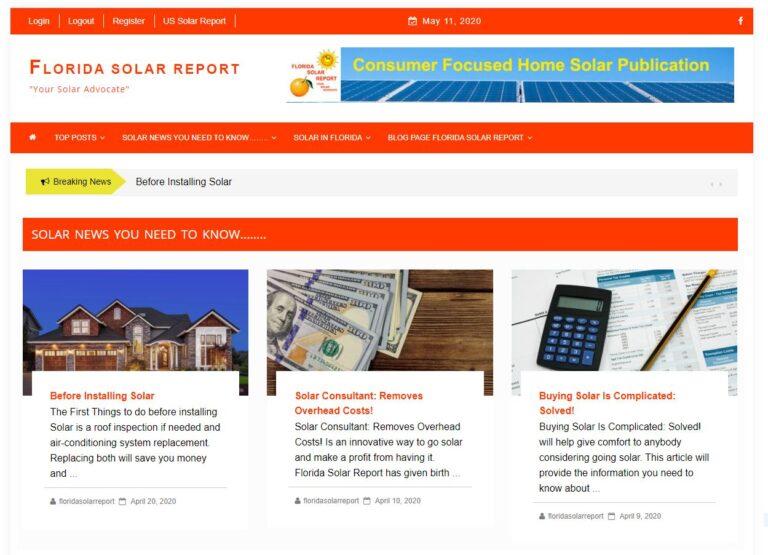 Home of Florida Solar Report,